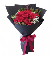 send 1 dozen red color roses in bouquet to davao