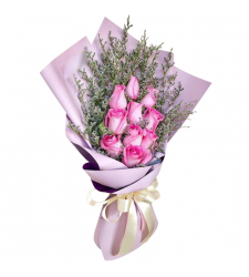 send 10 pcs. pink color roses in bouquet to davao