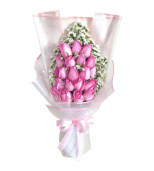 send 18 pcs. pink color roses in bouquet to davao