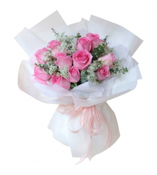 send 11 pcs. pink color roses in a bouquet to davao