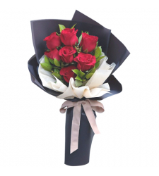 send 7 pcs. red color roses in bouquet to davao