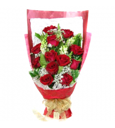 send 12 red roses with seasonal flower bouquet to davao
