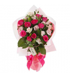 send 24 peach and red roses in bouquet to davao
