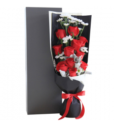 send 11 pcs. red color roses in box to davao