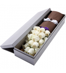 send 2 dozen white color roses in box to davao