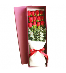 send 12 pcs. red color roses in box to davao