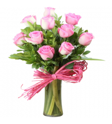 send 10 pcs. pink color roses in vase to davao