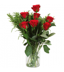 send 7 pcs. red color roses in vase to davao