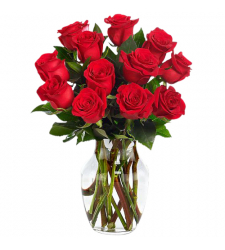 send 1 dozen red roses in glass vase to davao