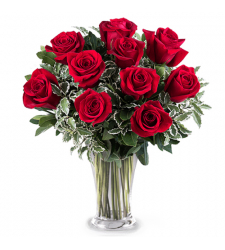 send 10 pcs. red color roses in vase to davao