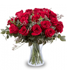 send 2 dozen red color roses in vase to davao