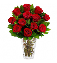 send 12 long stem roses with free vase to davao