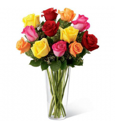 send 12 multi color roses with free vase to davao