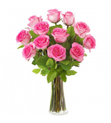 send 12 pink rose with free vase to davao in the philipines