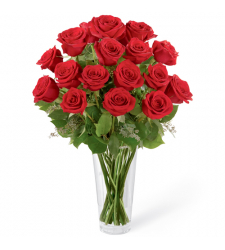 send 12 stems red roses in glass vase to davao