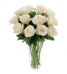 send 12 pcs. white color roses in vase to davao