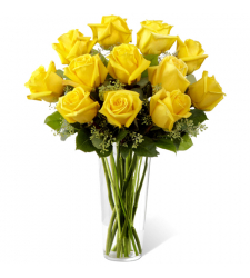 send dozen of yellow roses in glass vase to davao