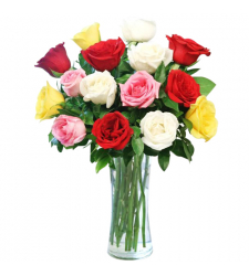 send 15 pcs. multi color roses in vase to davao