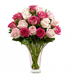 send 18 pink color roses in a glass vase to davao