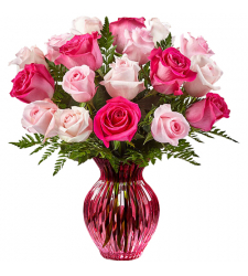delivery 18 soft and hot pink roses in vase to davao