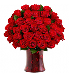 send 36 pcs. red roses with glass vase to davao