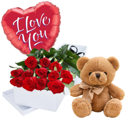 send roses box and teddy bear and balloon to davao