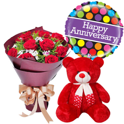 send 12 red roses with teddy bear and balloon to davao