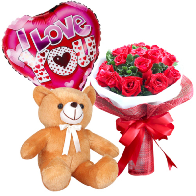 send 12 red roses with brown bear and balloon to davao