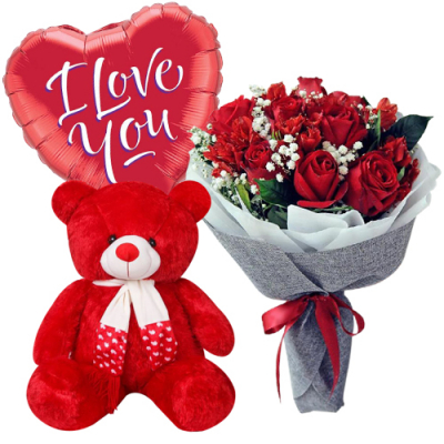 send 12 red roses with bear with mylar balloon to davao