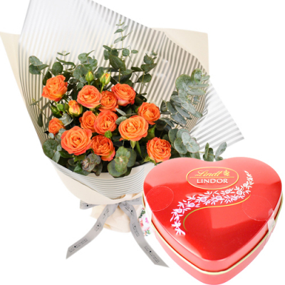 send 12 orange roses with lindt chocolate to davao