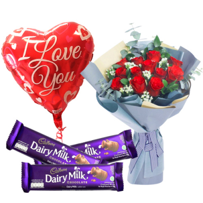 send 12 red roses with chocolate and balloon to davao