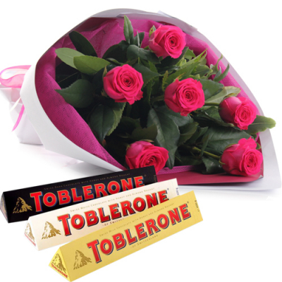 send half dozen pink roses with chocolate to davao