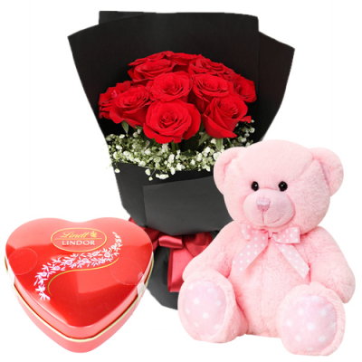 send dozen of red roses with pink bear and chocolate to davao