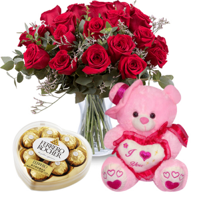 send 12 red roses with brownie bear and chocolate box to davao