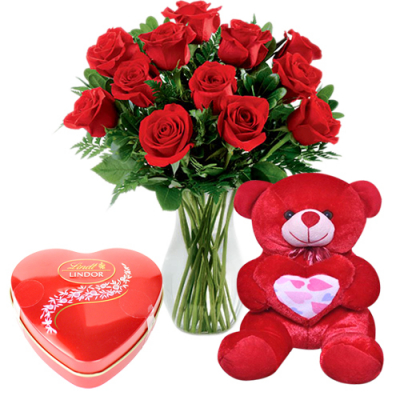 send 12 red roses with teddy and chocolate box to davao