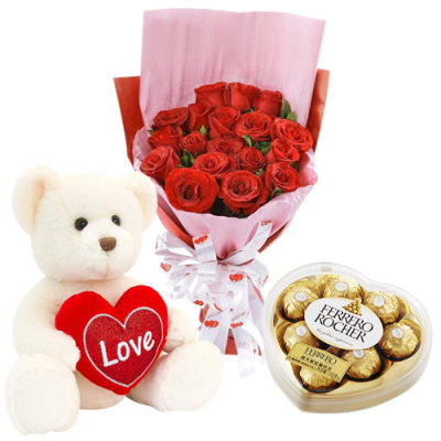 send white bear with 12 red roses and chocolate to davao