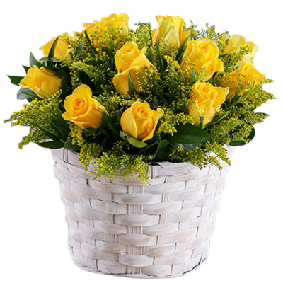 send 1 dozen yellow color roses in basket to davao