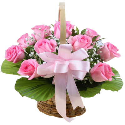 send 1 dozen pink color roses in basket to davao