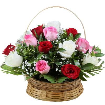 send 18 pcs. mixed color roses in basket to davao