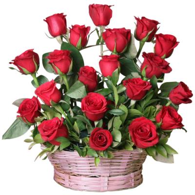 send 2 dozen red color roses in basket to davao
