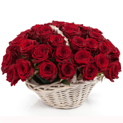 send 50 red color roses in a basket to davao