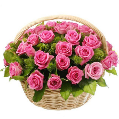 send 24 pcs. pink color roses in basket to davao