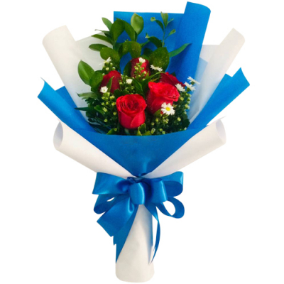 send 5 red roses in a bouquet to davao