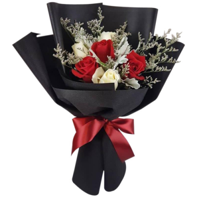 send 6 red and white color roses bouquet to philippines