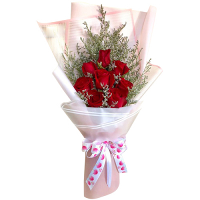 send 8 pcs. red color roses in bouquet to davao