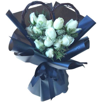 send 12 pcs. white color roses in bouquet to davao