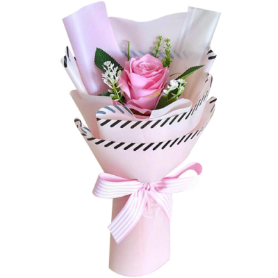 send single pink color roses in a bouquet to davao