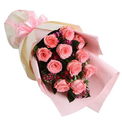 send 12 pink roses in bouquet to davao