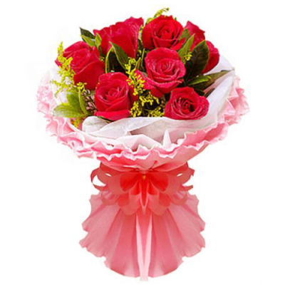 send 12 pcs. red roses in bouquet to davao