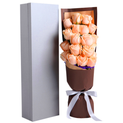 delivery 18 pcs. peach color roses in box to davao